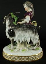 ORIGINAL ANTIQUE MEISSEN FIGURE OF YOUNG GIRL WITH GOAT