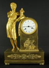 19th cent empire style gilt bronze clock