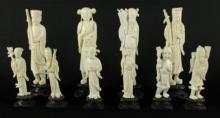 TEN OLD ANTIQUE CHINESE CARVED IVORY FIGURES