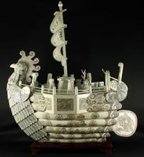 Chinese Carved Bone Phoenix Boat
