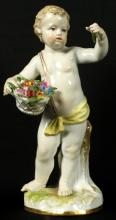 19th C. Meissen Figure of boy with Flowers