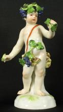 19th C. Meissen Figure of boy with Grapes
