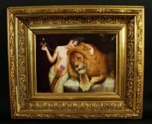 MAGNIFICENT KPM PLAQUE OF WOMAN AND LION
