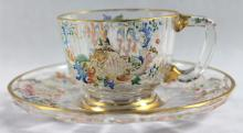 LOBMEYR CUP AND SAUCER, SIGNED