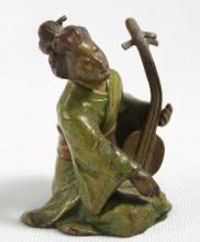 VIENNA COLD PAINTED BRONZE FIGURE OF A SEATED JAPANESE