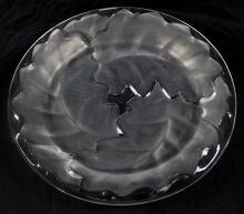 RARE ANTIQUE RETIRED LALIQUE CRYSTAL LEAF PLATE