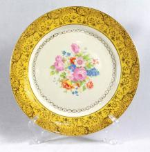 GERMAN PORCELAIN PLATE WITH 22 KT. GOLD INLAY