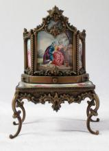 AUSTRIAN ENAMEL AND BRONZE VANITY TABLE