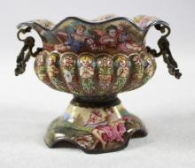 LATE 19TH C ENAMELED GILT-METAL MOUNTED URN-FORM OPEN