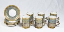 Sterling Silver Mounted Limoges Demitasse Set