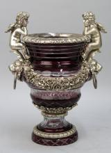 Bohemian Style Glass Silvered Urn (As is)