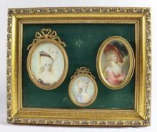 PORTRAIT OF 3 WOMEN IN 18TH C COSTUME POSSIBLY AMERICAN