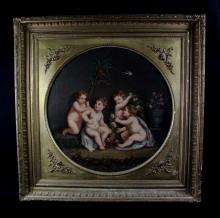 ANTIQUE OIL ON CANVAS:  BRITISH SCHOOL, PUTTI AT PLAY , 1856 SIGNED LANGDON