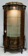 A LOUIS XV STYLE GILT BRONZE MOUNTED VITRINE CABINET WITH INTERIOR LIGHTING