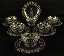 SET OF 6 BOHEMIAN DESSERT BOWLS AND SAUCERS