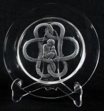 ANTIQUE LALIQUE GLASS WITH CHERUB & ROPE DESIGN, SIGNED