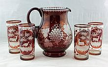 Bohemian Ruby Lemonade Pitcher and 4 Tumblers