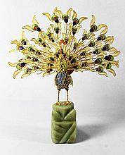 CHINESE ENAMEL AND SILVER FIGURE OF PEACOCK