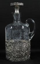 GERMAN SILVER AND ETCHED GLASS DECANTER