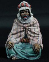 COLD PAINTED BRONZE FIGURE FO A BEDDUIN. SIGNED BERGMAN