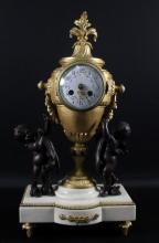 19TH C. BRONZE AND MARBLE MANTLE CLOCK