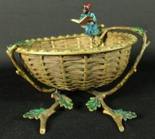 VIENNA COLD PAINTED BRONZE FIGURAL BASKET