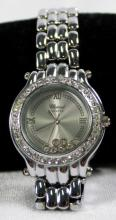 STAINLESS STEEL WATCH WITH CRYSTAL ACCENTS