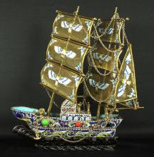 CHINESE ANTIQUE JEWELLED CLOISONNE GALLEON