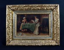 ANTIQUE OIL ON CANVASS OF 2 WOMEN IN INTERIOR SIGNED