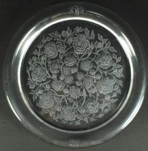 ANTIQUE LARGE LALIQUE CRYSTAL CHARGER
