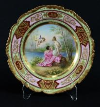 ROYAL  VIENNA PORCELAIN PLATE, MARKED CIRCA 1895.