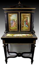 19TH C FRENCH EBONIZED WOOD AND GILT BRONZE BONHEUR DU JOUR WITH PORCELAIN PLAQUES, SIGNED