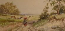 Early 20th century Milkmaid with English Landscape Watercolor on paper