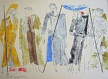 Biblical figures, 1960, Watercolor, 44 x 62 cm, Signed and dated