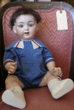 antique Japanese Morimura Bros boy doll with bisque head