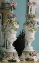 pair of antique Capodimonte or Majolica porcelain urns