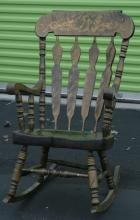 vintage floral painted rocker or rocking chair