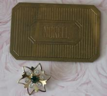 estate jewelry: Norell brass pocket vanity mirror and pin brooch with rhinestones