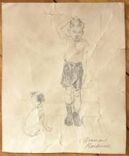 original pencil drawing attributed to Norman Rockwell