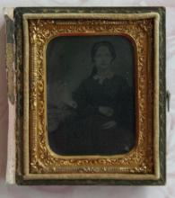 antique daguerrotype or ambrotype photo image in case