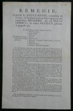 RARE 1731 Dutch info ad antique paper sheet remedie how to treat rabies