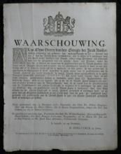 RARE 1762 official Dutch info ad antique paper rules fire department