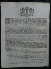 RARE 1785 Dutch info ad antique paper sheet fines for shooting guns in public