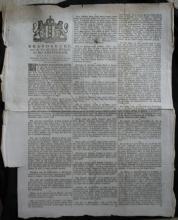 RARE 1789 Dutch ad info antique sheet paper rules regulations fire prevention