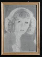 antique original hand drawn portrait of Greta Garbo