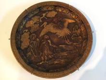 Chinese terracotta charger, measures 46cm with bird and immortal decoration