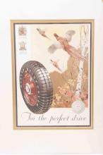 A mounted Dunlop shooting themed print from 1933