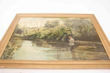 A large painting by M. Rimmel of an angler fishing in a river