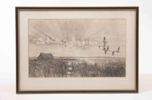 A pencil sketch of geese flying over marshes