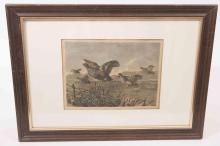 A framed print of grey partridges